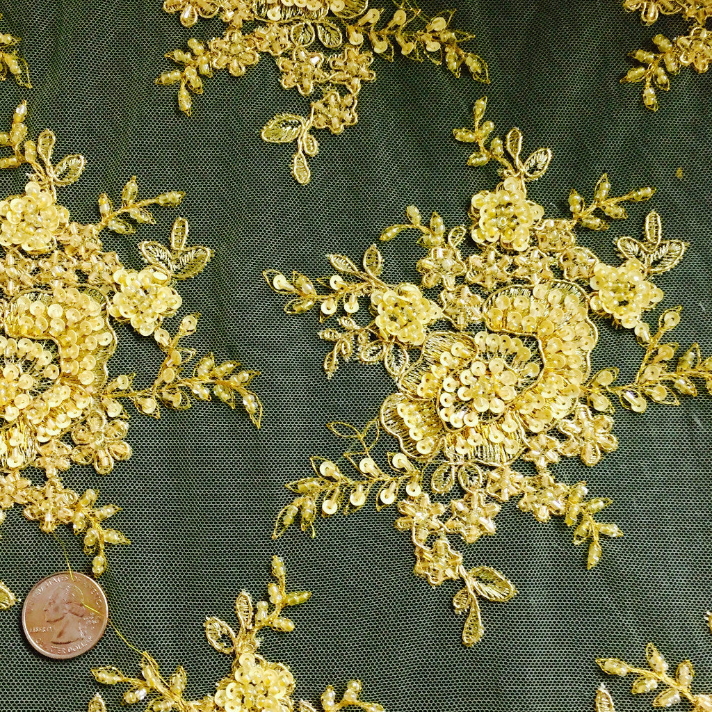 Allover Beaded Tulle Gold ABT 1315 - NY Fashion Center Fabrics