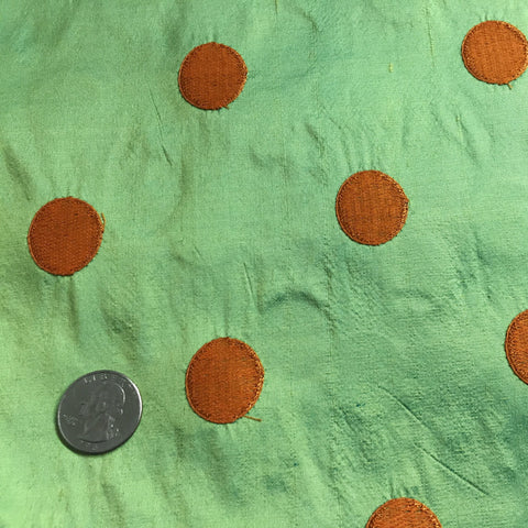 Silk Shantung Embroidered Circles Fabric Lime/Orange