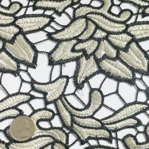 Embroidered Floral Design Guipure Lace Black Beige - NY Fashion Center Fabrics