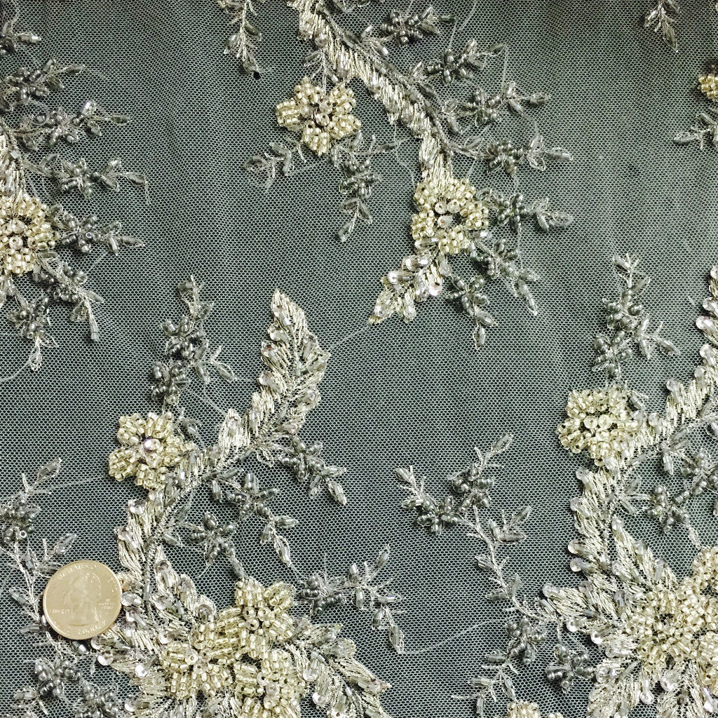 Art Floral Tulle Silver ART 1215 - NY Fashion Center Fabrics
