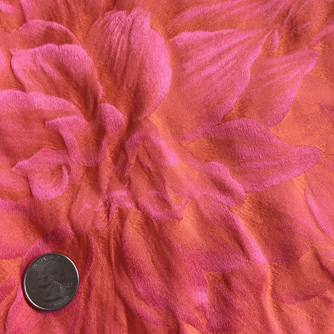 Silk Leaves Brocade Coral Pink