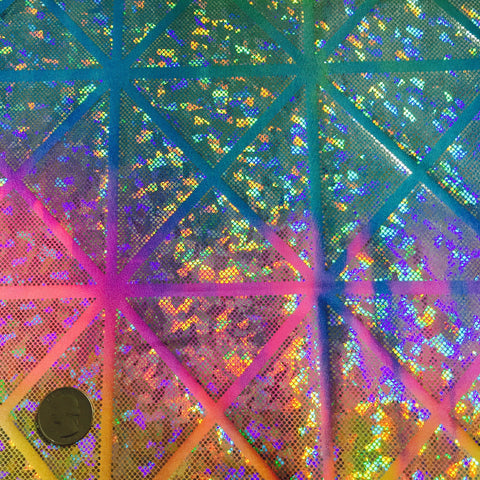 Geometric Rainbow Hologram Spandex Rainbow Multi - NY Fashion Center Fabrics
