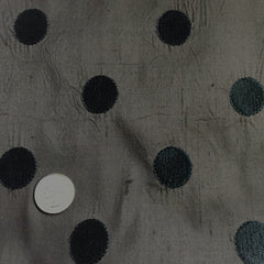 Silk Shantung Embroidered Circles Fabric Dark Brown/Black