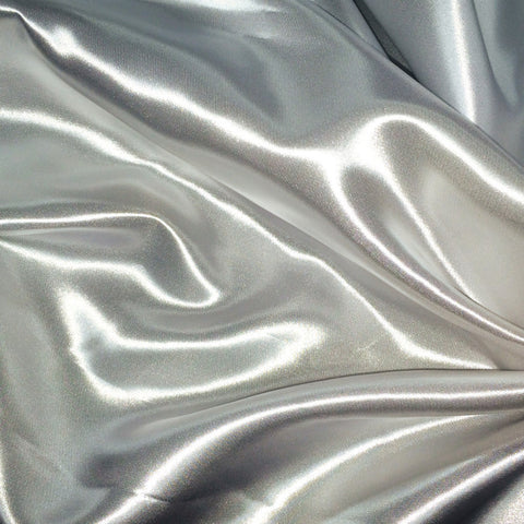 Luster Satin Fabric 42  Silver - NY Fashion Center Fabrics