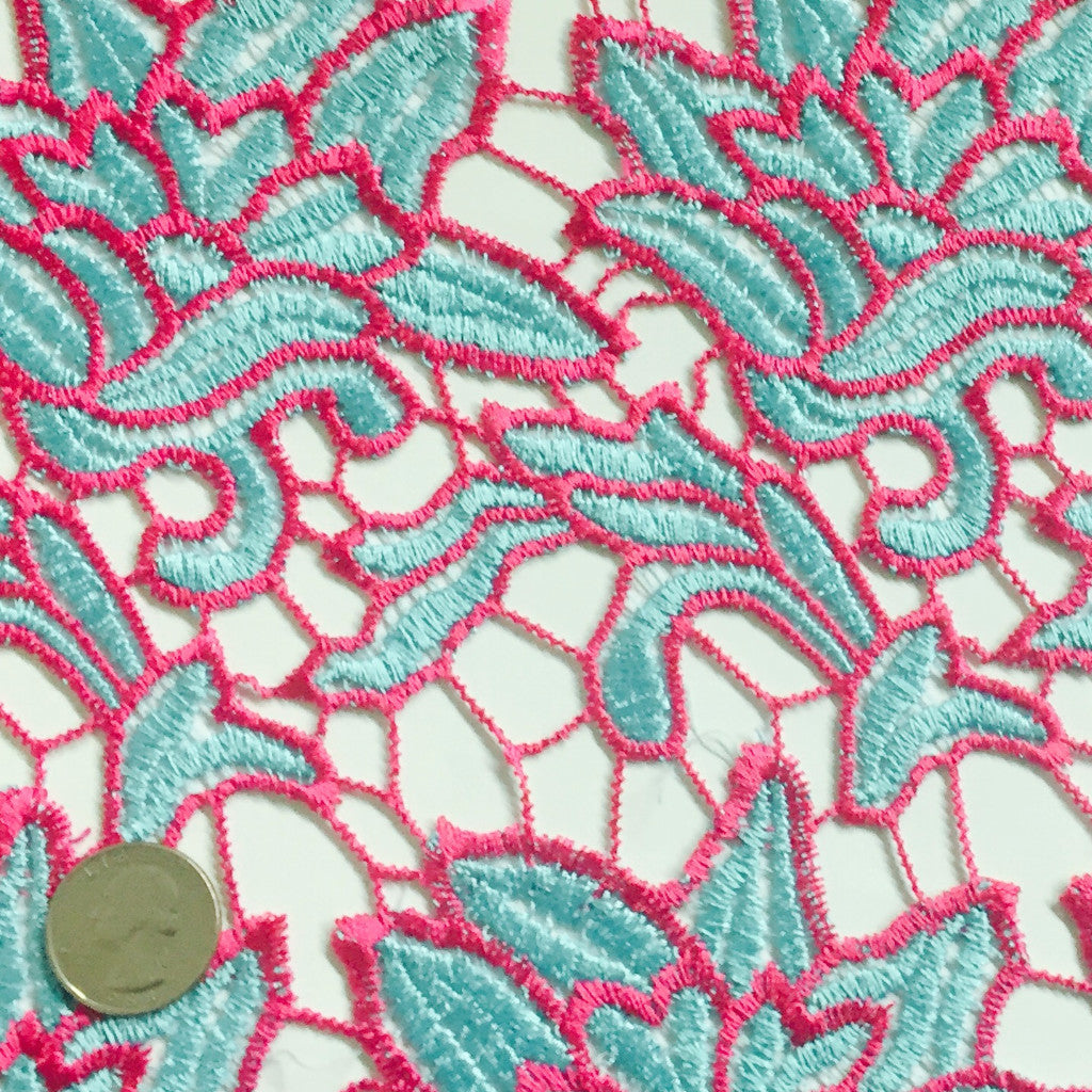 Embroidered Floral Design Guipure Lace Magenta Teal - NY Fashion Center Fabrics