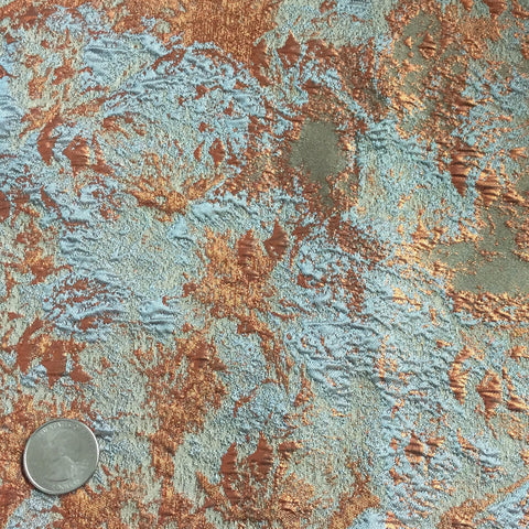 Foil Brocade Lt. Blue Copper - NY Fashion Center Fabrics