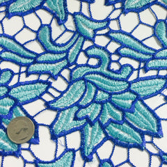 Embroidered Floral Design Guipure Lace Royal Turquoise - NY Fashion Center Fabrics