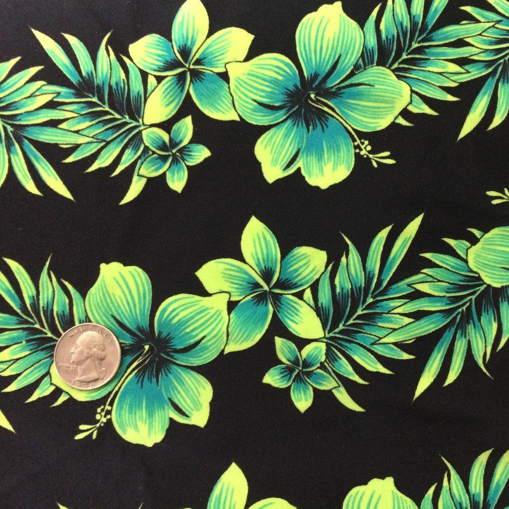 Hibiscus Flower Print Spandex Fabric Hibiscus Flower Lime CM 0559 - NY Fashion Center Fabrics