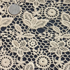 Floral Cotton Lace Tan - NY Fashion Center Fabrics