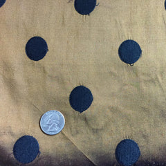 Silk Shantung Embroidered Circles Fabric Bronze/Black