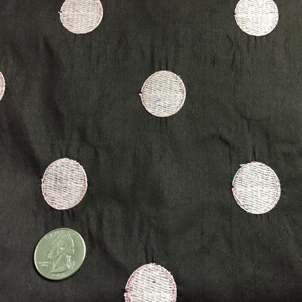 Silk Shantung Embroidered Circles Fabric Dark Brown/Pink