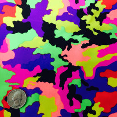 Neon Multi Camouflage Print Spandex Fabric Neon Multi Purple CM 0609 - NY Fashion Center Fabrics
