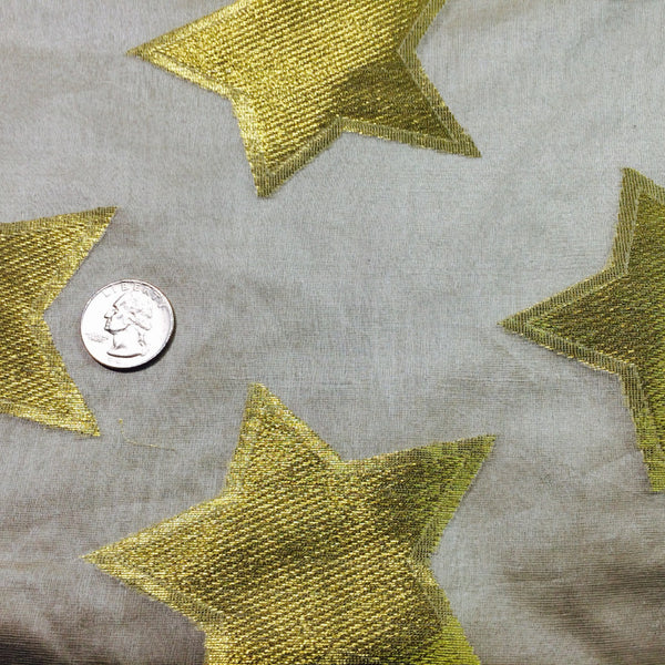 Silk Stars Print Organza Gold Stars Fabric By The Yard