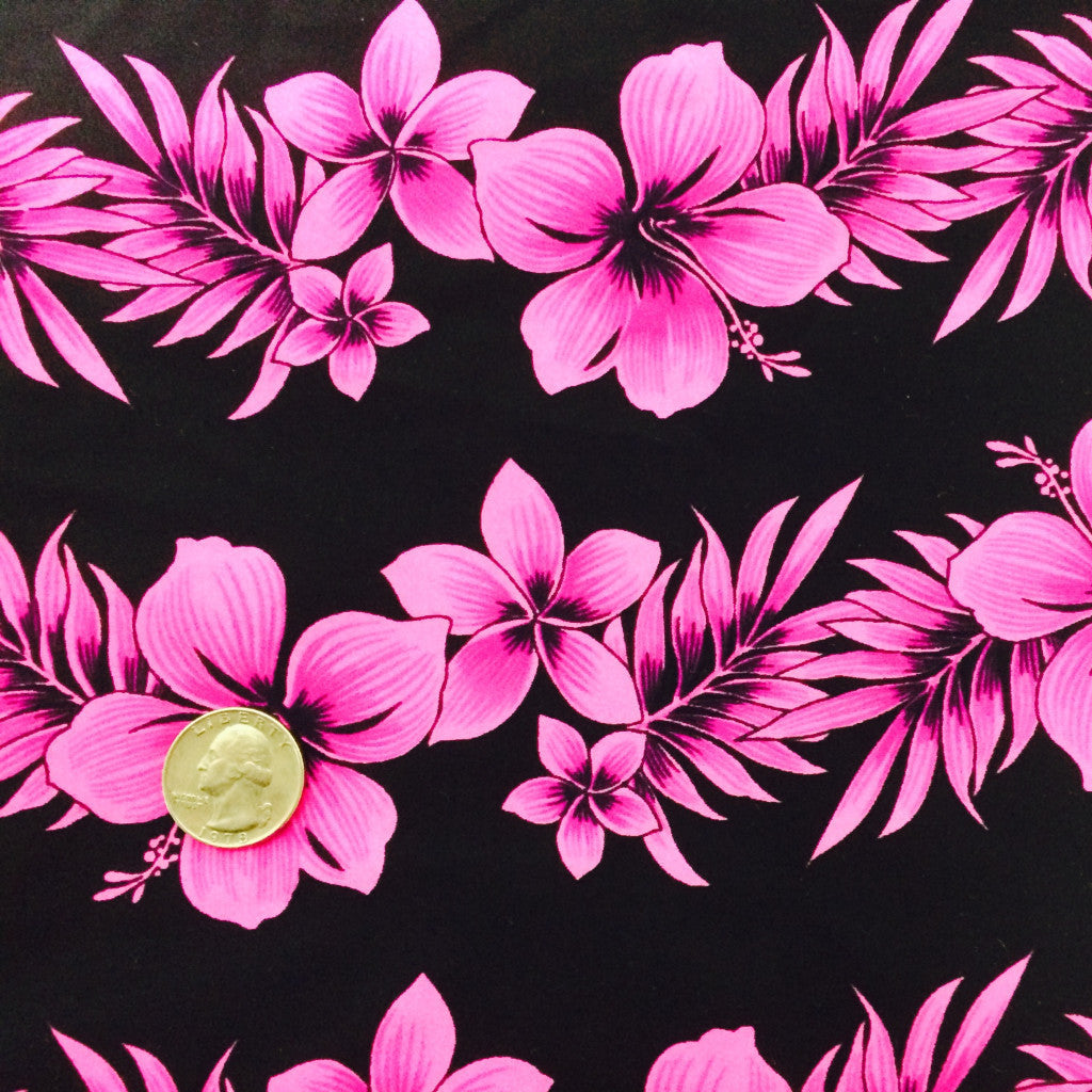 Hibiscus Flower Print Spandex Fabric Hibiscus Flower Fuchsia CM 0559 - NY Fashion Center Fabrics