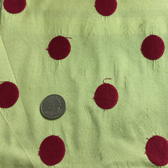 Silk Shantung Embroidered Circles Fabric Chartreuse/Hot Pink