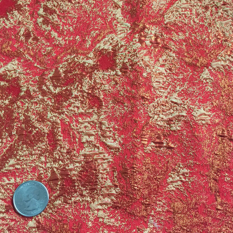 Foil Brocade Red Orange - NY Fashion Center Fabrics