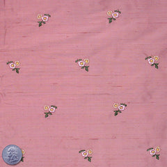 Silk Embroidered Ditsy Floral Shantung #1  11 Pink Smoke