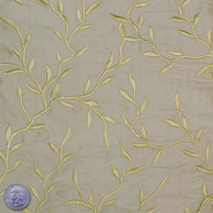 "Silk Embroidered Vines Shantung - 44""  14 Olive Smoke"
