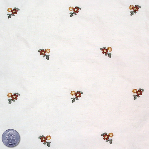 Silk Embroidered Ditsy Floral Shantung #1 00 Off White