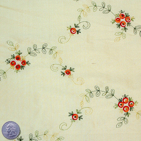 "Silk Embroidered Floral Shantung - 44"" 01 Lemon Red"