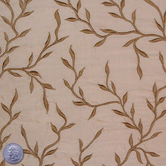 "Silk Embroidered Vines Shantung - 44"" 01 Light Tan"