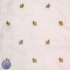 Silk Embroidered Ditsy Floral Shantung #2 01 Seashell Goldenrod