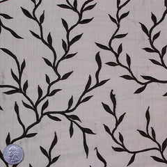 "Silk Embroidered Vines Shantung - 44"" 02 Gray"