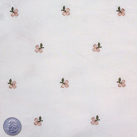 Silk Embroidered Ditsy Floral Shantung #2 02 Smoke Tan