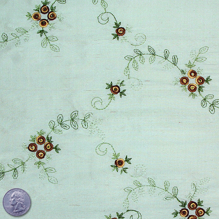 "Silk Embroidered Floral Shantung - 44"" 02 Teal Brown"
