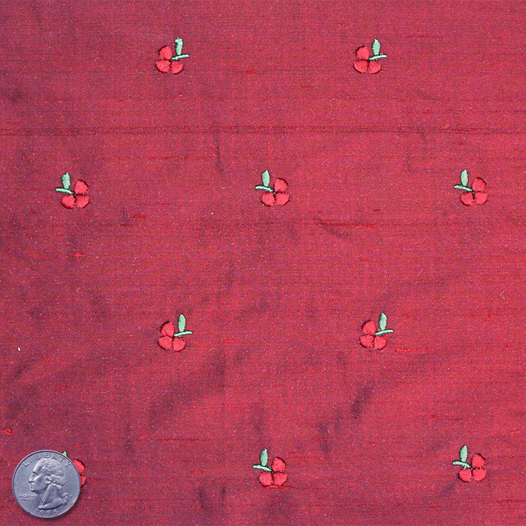 Silk Embroidered Ditsy Floral Shantung #2 03 Crimson Red
