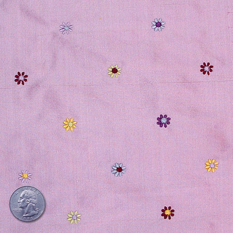 Silk Embroidered Multi Floral Shantung 04 Lavender