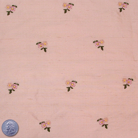 Silk Embroidered Ditsy Floral Shantung #1 04 Salmon