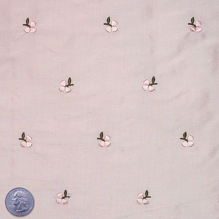 Silk Embroidered Ditsy Floral Shantung #2 05 Pale Peach Pink