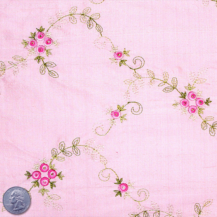 "Silk Embroidered Floral Shantung - 44"" 05 Pink Rose"