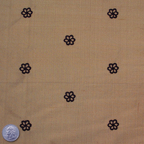 Silk Embroidered Geo Floral Shantung 06 Sienna Black
