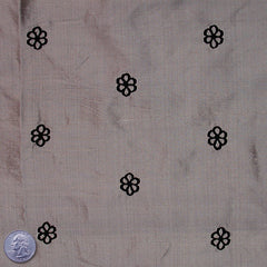 Silk Embroidered Geo Floral Shantung 07 Gray Black