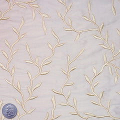 "Silk Embroidered Vines Shantung - 44"" 07 Pale Gold"