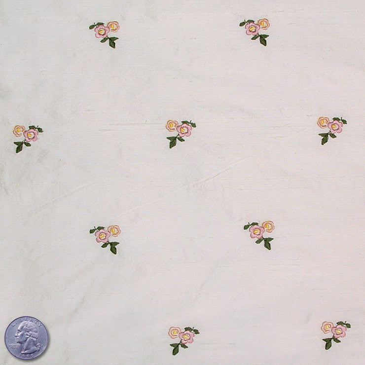 Silk Embroidered Ditsy Floral Shantung #1 08 Beige