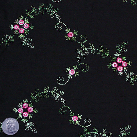 "Silk Embroidered Floral Shantung - 44"" 08 Black Rose"