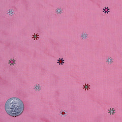 Silk Embroidered Multi Floral Shantung 08 Pink