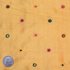 Silk Embroidered Multi Floral Shantung 09 Brilliant Gamboge