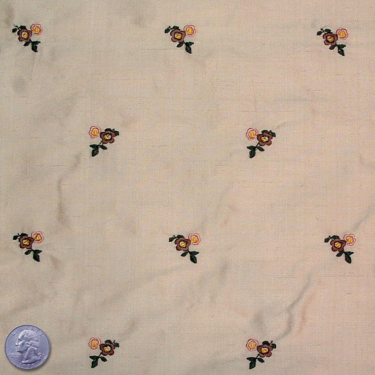 Silk Embroidered Ditsy Floral Shantung #1 09 Burlywood