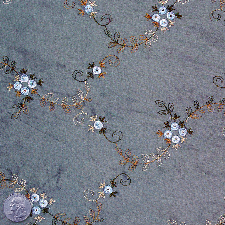 "Silk Embroidered Floral Shantung - 44"" 09 Slate Powder"