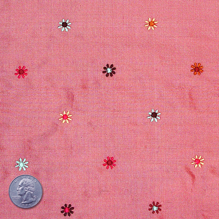Silk Embroidered Multi Floral Shantung 10 Dusty Rose