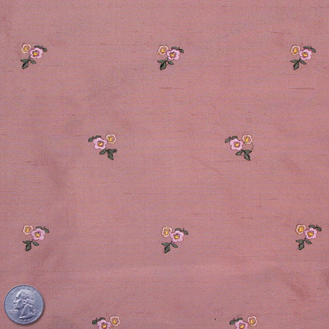 Silk Embroidered Ditsy Floral Shantung #1 10 Salmon