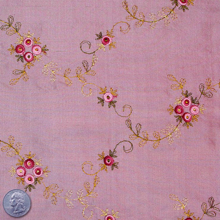 "Silk Embroidered Floral Shantung - 60"" 10 Thistle Rose"