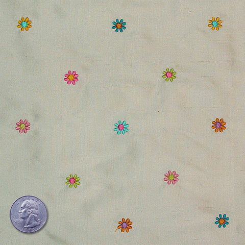 Silk Embroidered Multi Floral Shantung 11 Pale Olive
