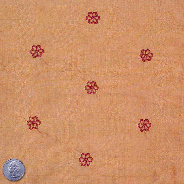 Silk Embroidered Geo Floral Shantung 11 Salmon Red
