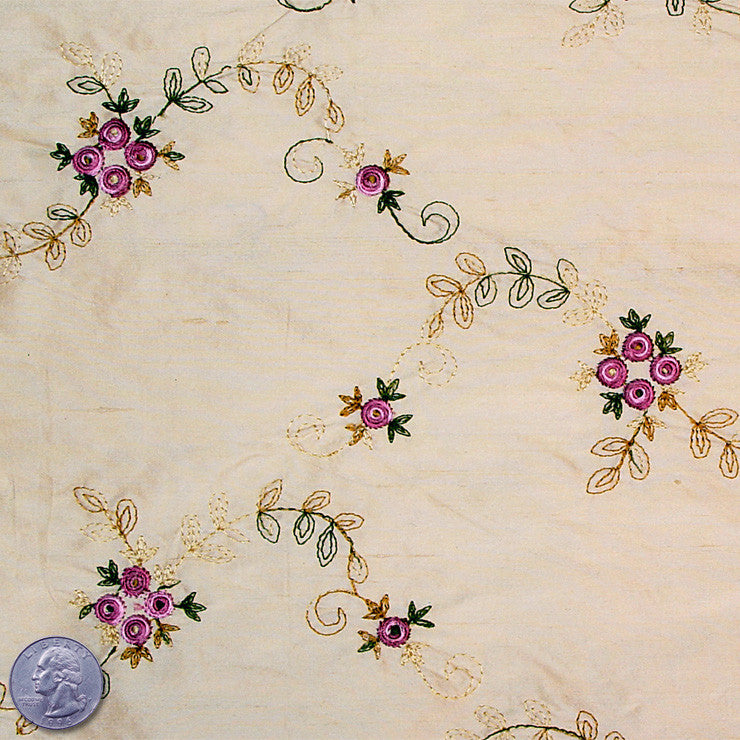 "Silk Embroidered Floral Shantung - 54"" 11 Wheat Fuchsia"