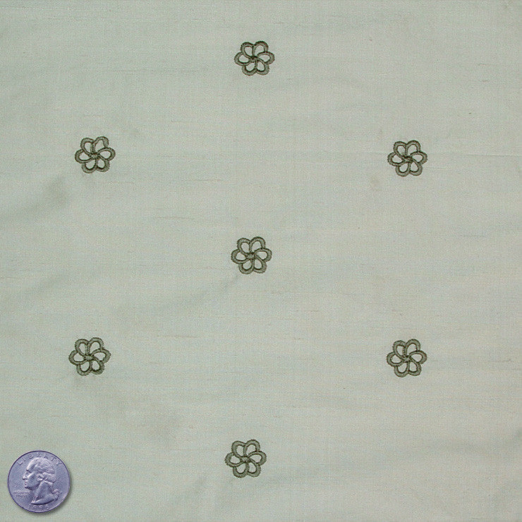 Silk Embroidered Geo Floral Shantung 12 Pale Olive Green